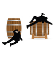 man drunk on barrel vector image vector image