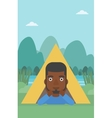 Man lying in camping tent vector image