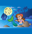 night seascape with swimming mermaid vector image