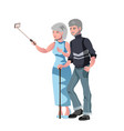 old man and woman do selfie photo vector image vector image