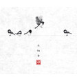 one bird flying and four little birds sitting vector image vector image