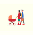 people with kid in pram family walking together vector image