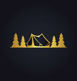 pine tree camp forest gold logo vector image vector image