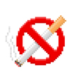 Pixel no smoking sign vector image vector image