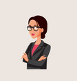 powerful woman wearing eyeglasses and business vector image vector image