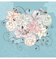 romantic floral heart vector image