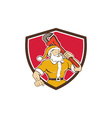 Santa Claus Plumber Monkey Wrench Shield Cartoon vector image vector image