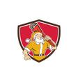 Santa Claus Plumber Monkey Wrench Shield Cartoon vector image