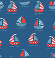 seamless pattern with cartoon boats on blue vector image vector image