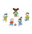 Set of cute doodle children vector image