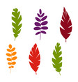 set of plant leaves isolated on white background vector image