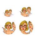 set of round avatars isolated on background vector image