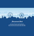 silhouette amusement park scenery flat vector image vector image