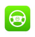 steering wheel of taxi icon digital green vector image