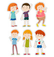 Sticker set of happy children vector image