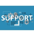 Support concept flat line design with icons and vector image