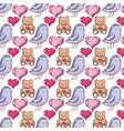 teddy bear and bird dove animal with hearts vector image vector image
