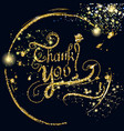 thank you signature with glitter particles vector image