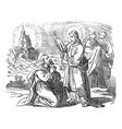 vintage drawing biblical story peter vector image vector image