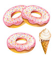 watercolor donut isolated on white background vector image