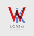 wk logo letters with blue and red gradation vector image vector image