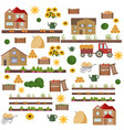 village vintage set pattern items vector image