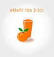 glass of bio fresh orange juice vector image