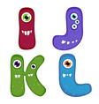 Funny Toothy Monster Alphabet from I to L vector image