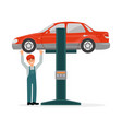 auto mechanic in uniform standing under red car vector image