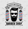 barbershop logo with barber pole in vintage style vector image