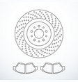 brake disc and pads isolated vector image vector image