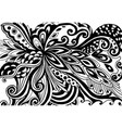 bstract hand-drawn leafy doodle pattern in black vector image