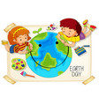children and earth day icon vector image vector image