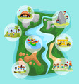 children summer camp concept with camping kids in vector image