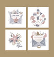 christmas square greeting cards with cute hygge vector image vector image