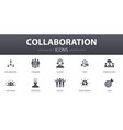 collaboration simple concept icons set contains vector image