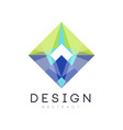 colorful geometric logo template abstract diamond vector image