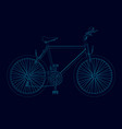 contour detailed bike of blue lines on a dark vector image vector image