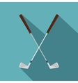 Crossed golf clubs icon flat style vector image vector image