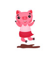 cute happy pig character in a dress jumping in a vector image