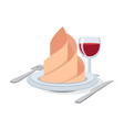 cutlery set with wineglass plate napkin icon vector image vector image