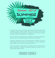 discount 25 off summer sale emblem with palm tree vector image vector image
