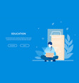 education - flat design style colorful web banner vector image vector image