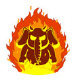 elephantthe evil red horns fire devil vector image