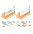 Fish Products Assortment Refrigerator Natural Food vector image