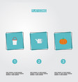 flat icons gourd bailer pail and other vector image vector image
