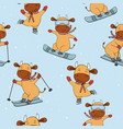 funny new years cows in winter sports symbol of vector image vector image