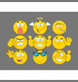 funny yellow cartoon emoji face collection - 3 vector image