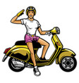 girl ride scooter vector image vector image
