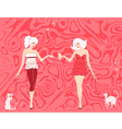 girls with cats vector image vector image